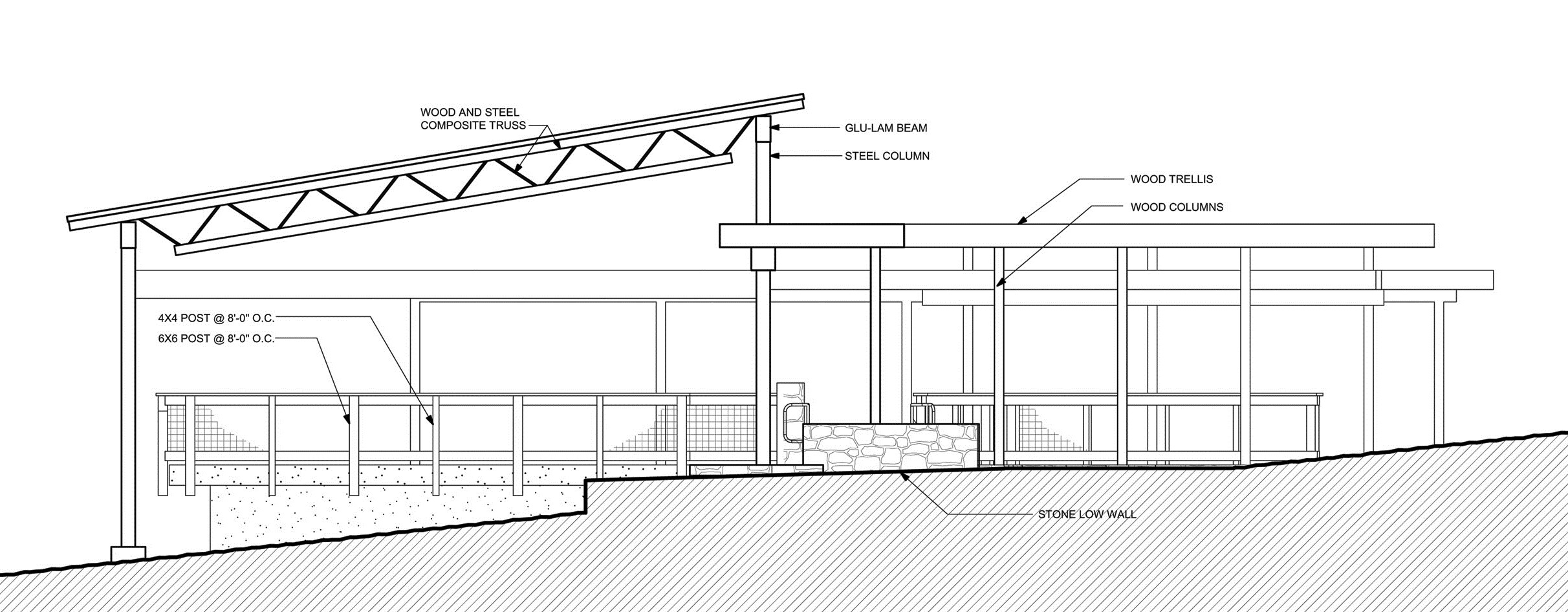 Group Shelter South Elevation - line drawing (hatched grade)-2